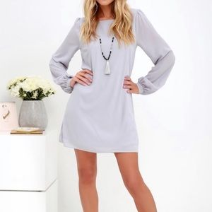 NWT Lulu's light grey shift dress sheer sleeve XS